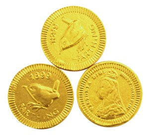 Gold farthing chocolate coins  Bag of 100