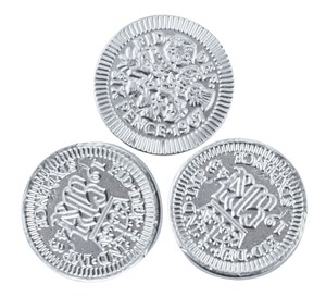 Silver sixpence chocolate coins  Bag of 100