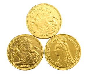 Gold sovereign chocolate coins  Bag of 100
