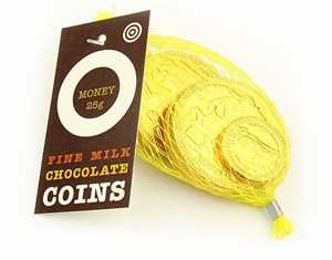 Net of Victorian gold chocolate coins  25g net of coins